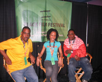 l-r Music engineer Jay-El, Stefanie and actor/producer Simeon Anderson