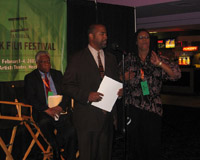 San Diego City Council Member Tony Young, rear, Director Woodie King, Festival Director Karen Huff